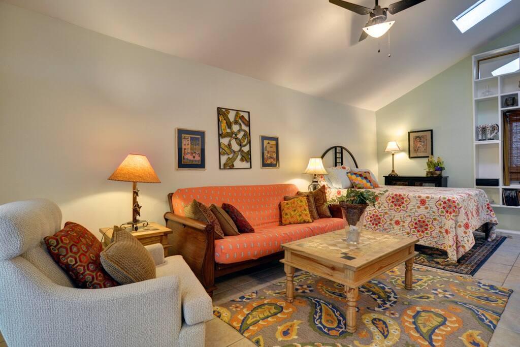 High ceilings, Skylights & Colorful Decor.