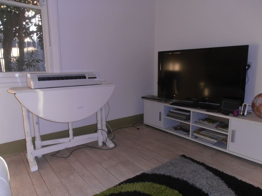 Large screen television in loung room