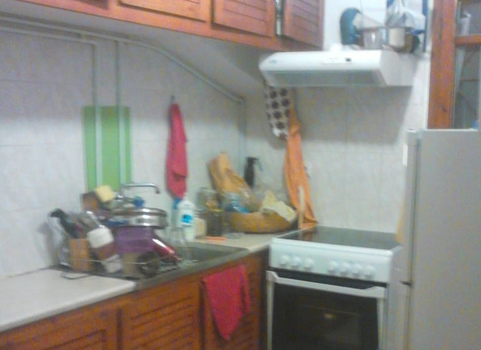 kitchen, fridge, utensils
