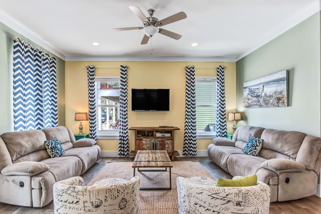 Toes in the Sand has a great open floor plan featuring a cozy living room.