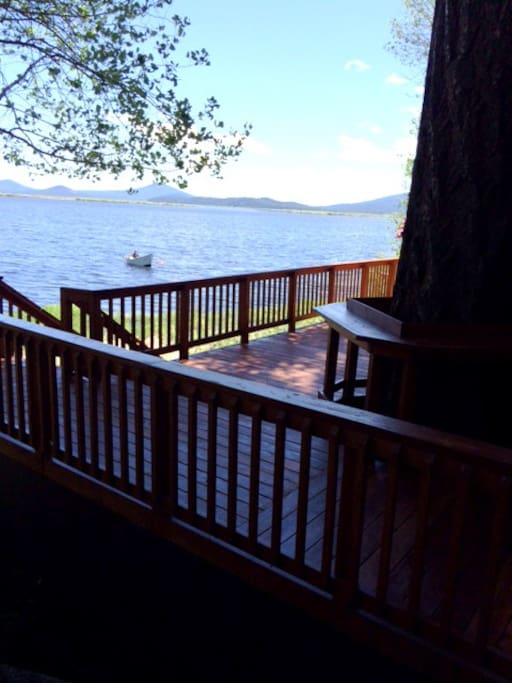 Perched just a stairway from the beautiful lake. Trophy trout and miles of canoe trails await!