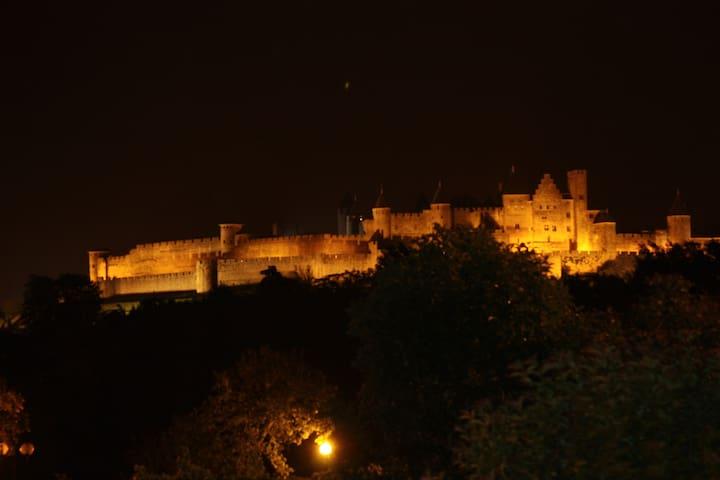 Grande chambre avec vue sur la cité - Carcassonne - Ev
