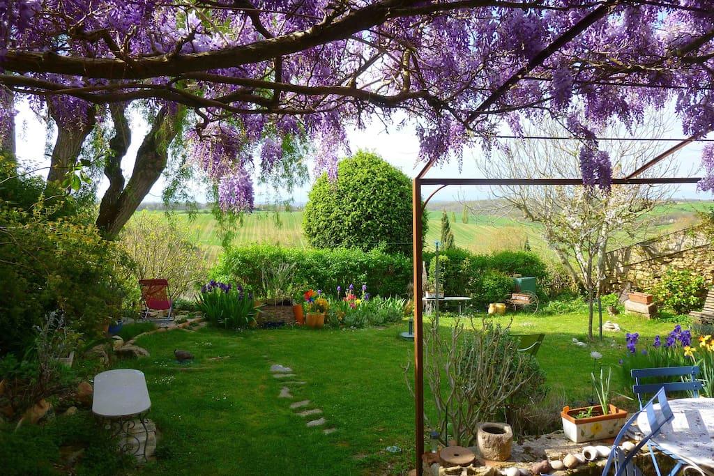 The back garden with a view on the Pyrenees. Jardin avec vue sur les Pyrénées.