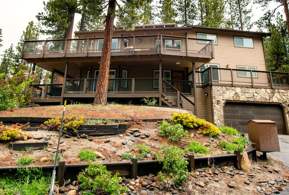 The home sits on a south-facing slope and gets sun all day long. Many decks!