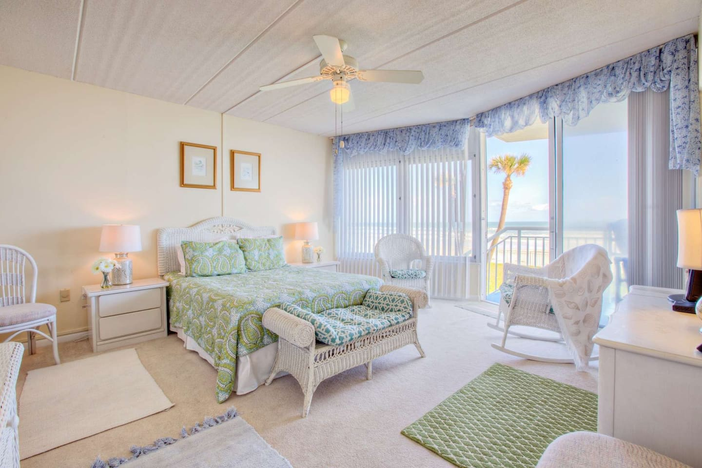 Beautiful and spacious master bedroom with direct views and access to the ocean.