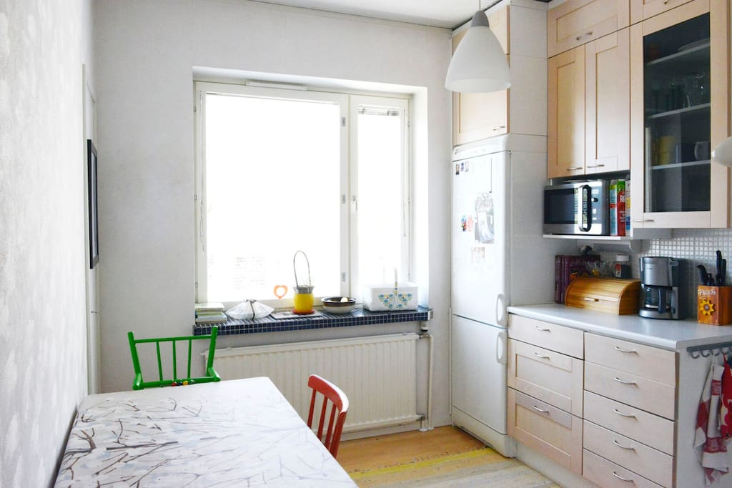 Kitchen is equipped with dishwasher, oven, micro-wave, coffee maker, child chair etc.