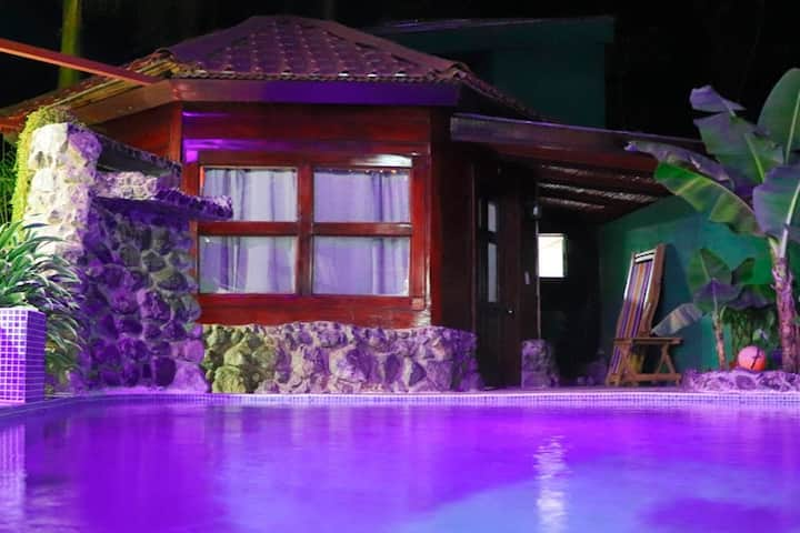 Magical cabin with pool and beach very close