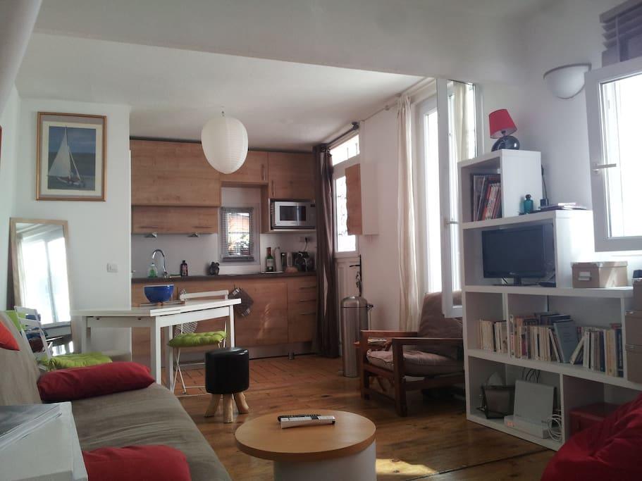 Vue générale (salon avec table basse, canapé clic clac (190x120), TV, Internet, Hi-Fi...bibliothéque et cuisine).