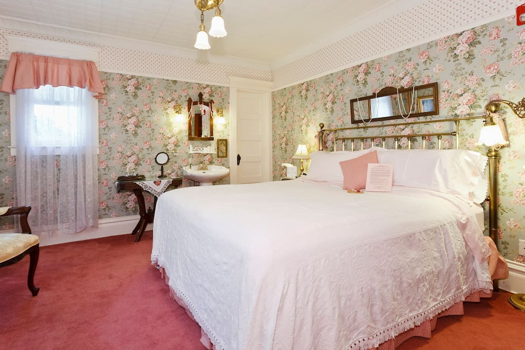 Victorian Room has king bed and private bath with whirlpool tub