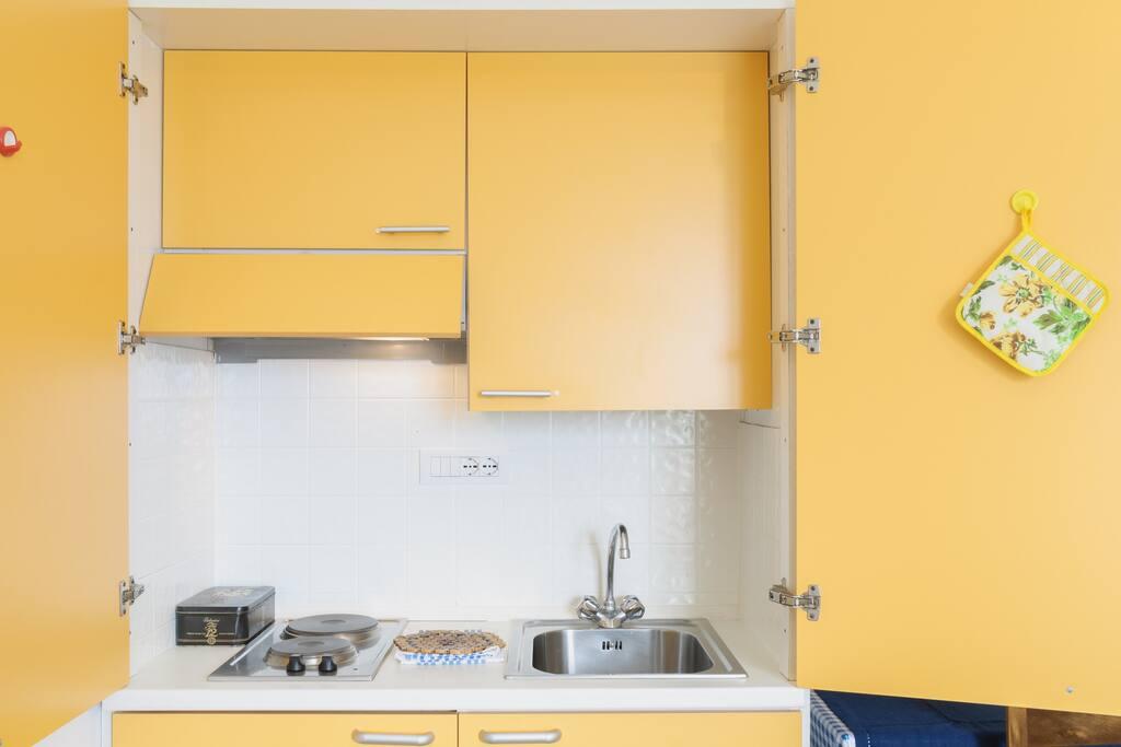 The open kitchenette