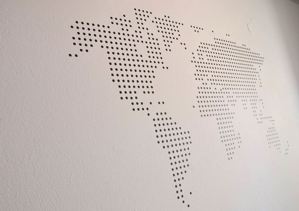 World wall art at cozy flat in Heraklion City Center