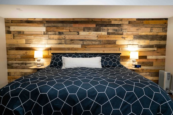 I love the featured pallet wall!!  Gives great visual interest and texture.