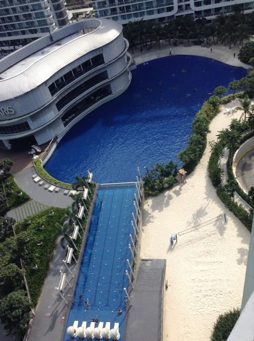 View from our unit..  Wave pool which opens from 7AM-7PM