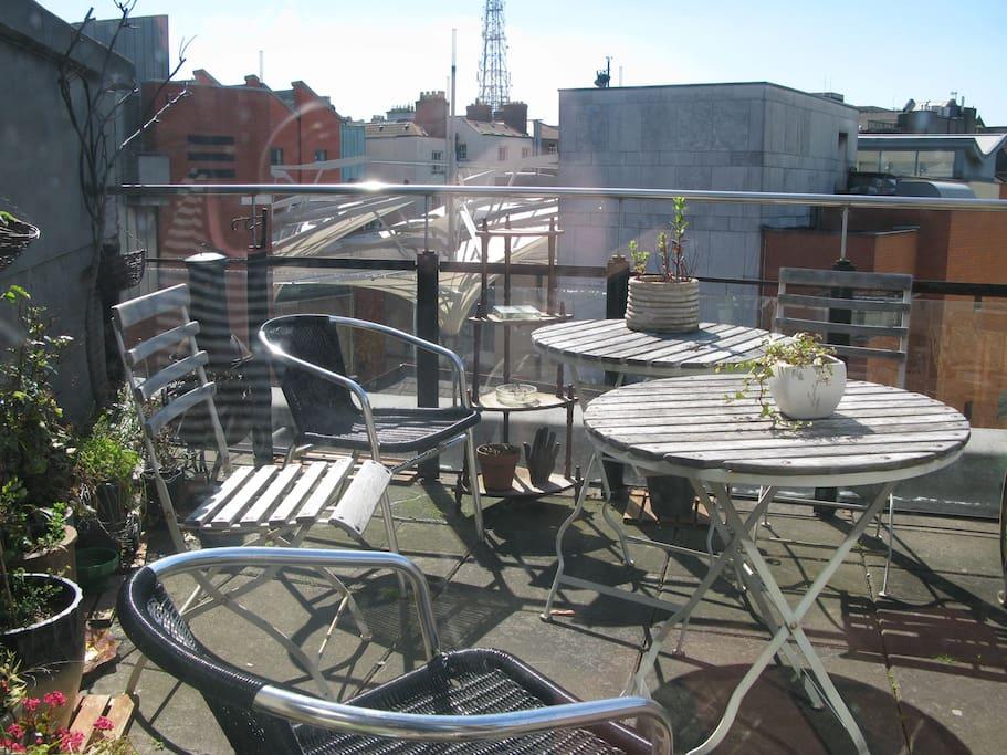 Dublin City roof top views with U2 Hotel next door.