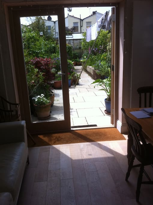 French doors from kitchen onto garden