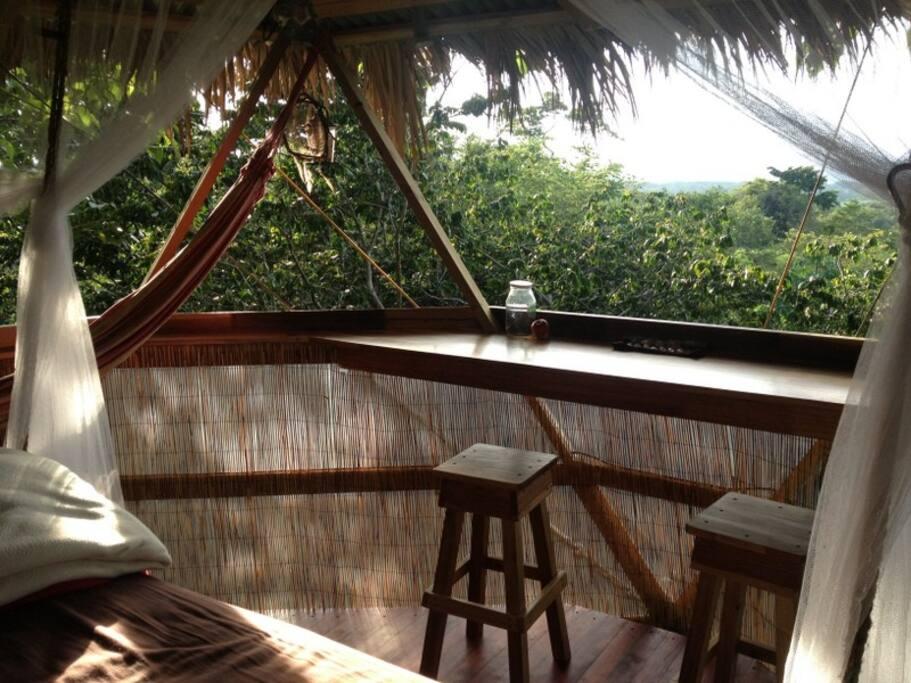 Desk and hammock in bedroom