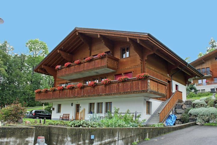 Comfortable apartment at the ground floor. Terrace with view at the Wetterhorn