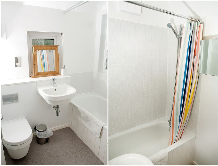 Recently fitted bathroom with bath and shower