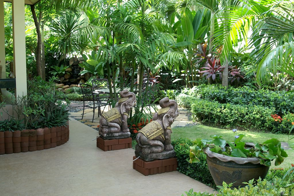 Beautifully maintained tropical gardens