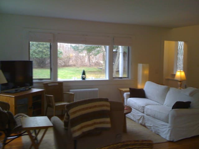Living Room with view of lawn and woods, sofa, recliner and two side chairs for seating