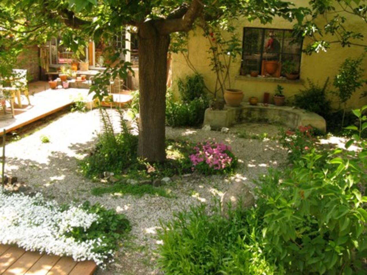 Dans le jardin, de l'ombre pour manger, faire la sieste,...