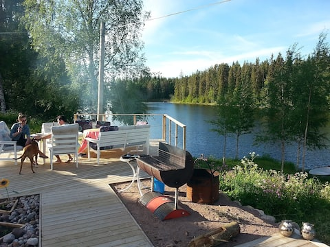 The deck area in front of your apartments. Overlooking our beautiful lake.