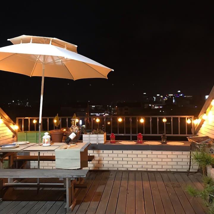 야경을보며 바베큐를 즐길수있는 카페같은테라스/443호반스페이스/단독사용~~