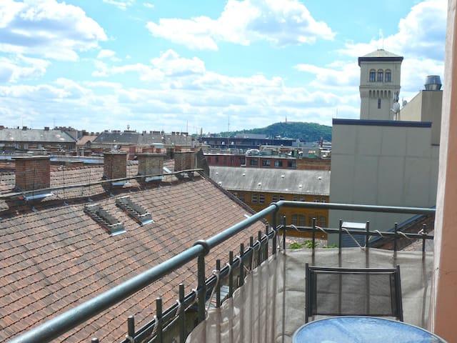 Blaha flat, balcony, Gellért  view