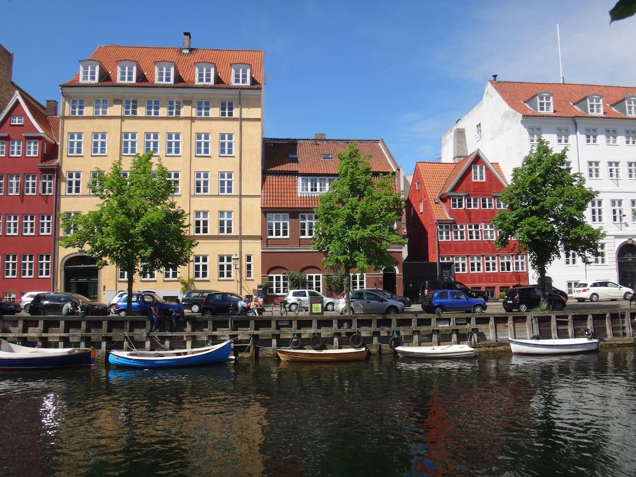 Old colorful buildings along Christianshavn canal