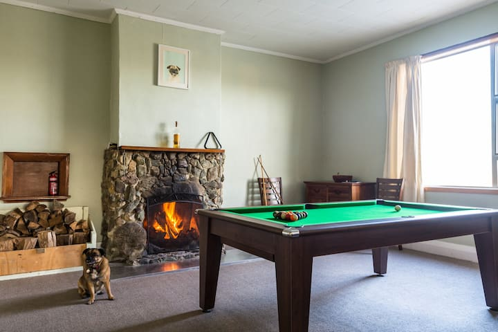 The pool room (also converts into dining table).