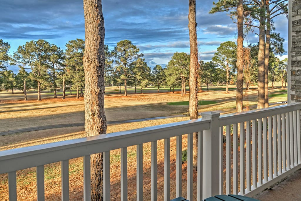From the private balcony, you'll marvel at the views of the beautiful golf course.