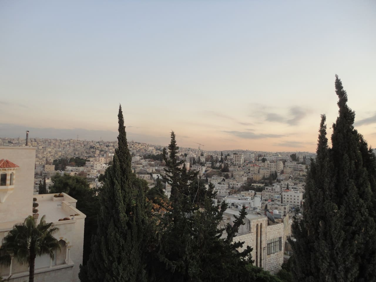 Full East, South, West view over Amman from the master bedroom and the roof terrace