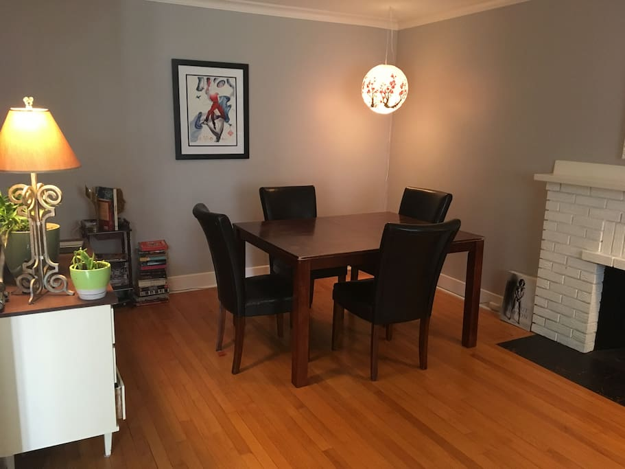 Dining room table in the living room, perfect for study, work, dining