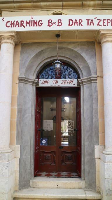 Entrance charming B&B Dar ta Zeppi  + Art box home gallery of Modern Art , Qala /Gozo