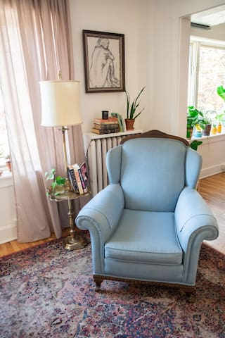 I hope you feel comfortable while here. This Queene Anne chair is my favorite for reading.