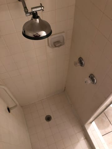 Functional shower with rain head.