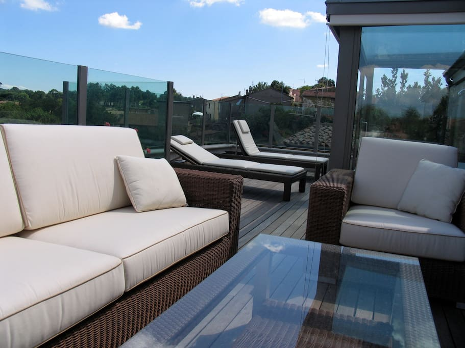 Great seating area for entertainment on the top terrace