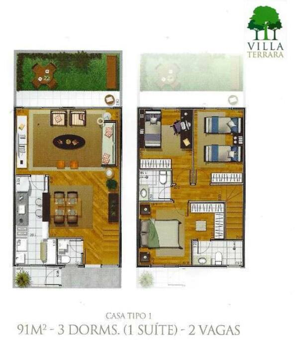 Casa com Sala, Sala de Jantar, Cozinha, Área de Serviço, Lavabo, Área Externa(térrea). 3 Quartos, 1 suíte, 1 Banheiro Completo(1 andar)