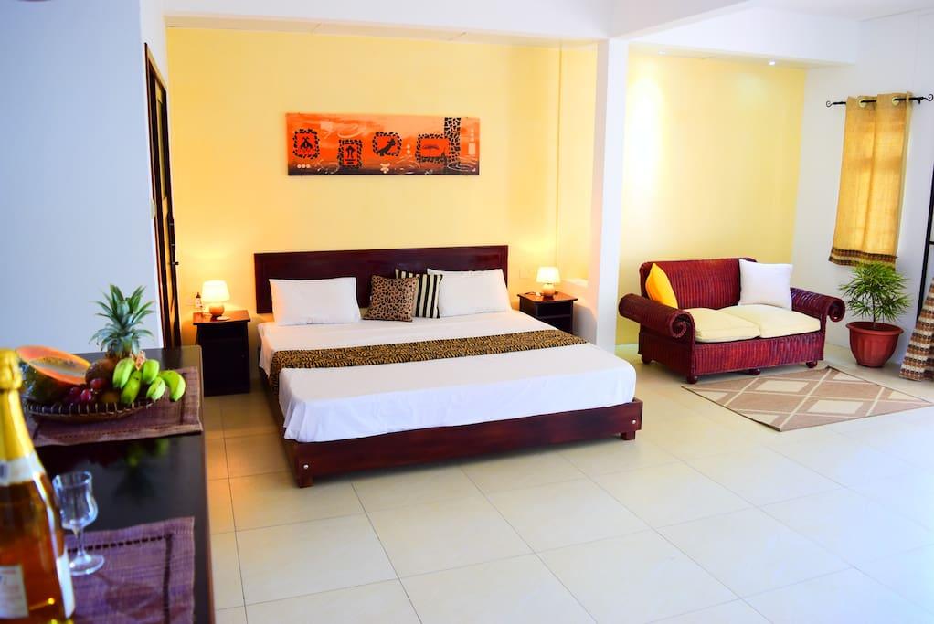 African bedroom & living room
