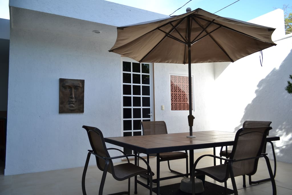 Front entrance and patio to the Palm Casita