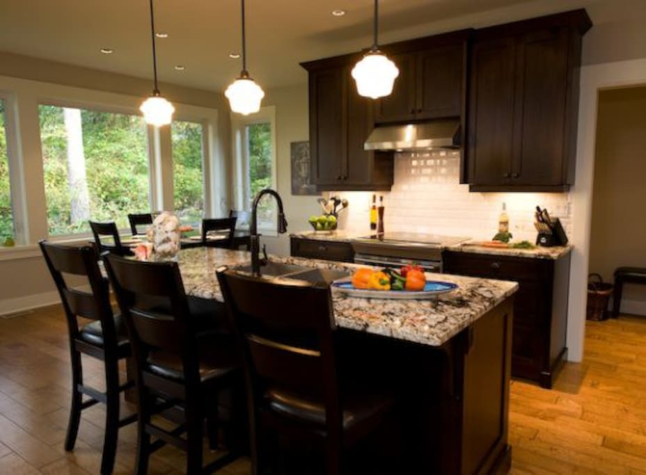 Open Concept Kitchen, Dining, Living, Granite Counter Tops