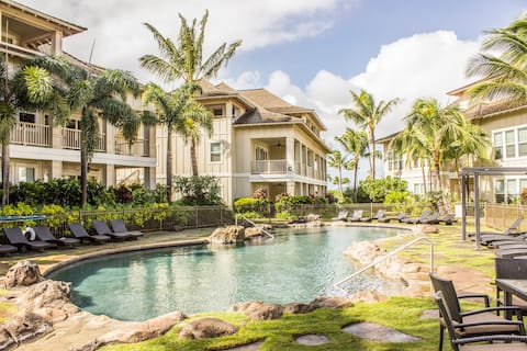 Relax by the private resort style pool of The Villas at Po'ipu Kai.