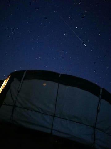 shooting star over the yurt