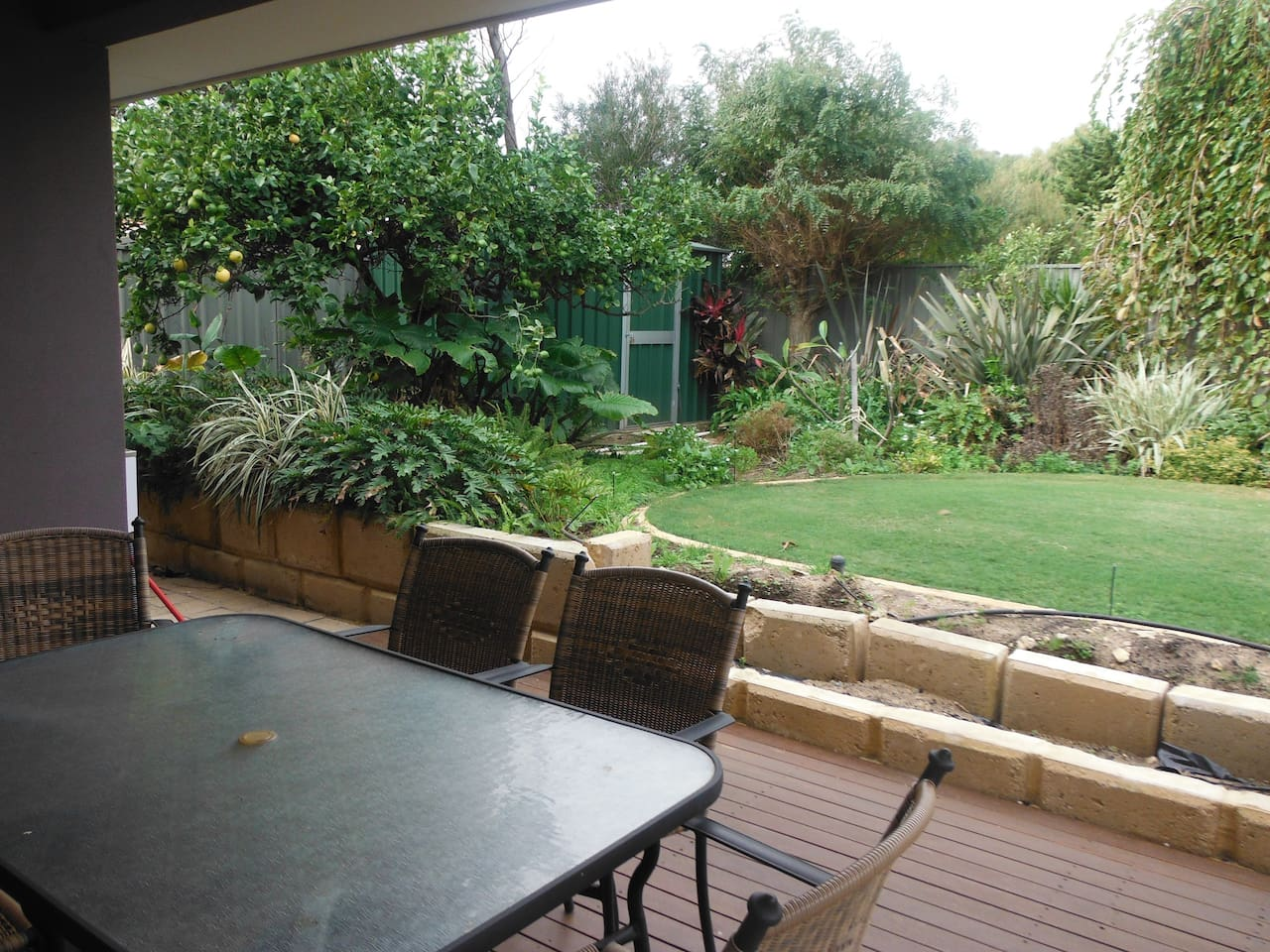 Decking and garden is private