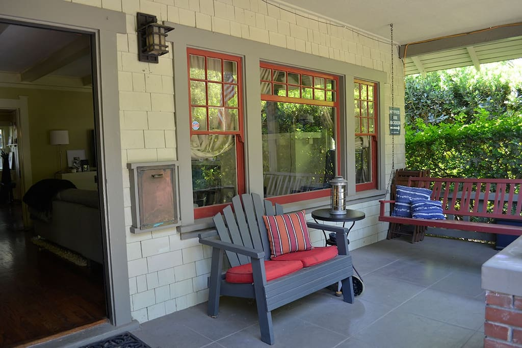 The porch is a great spot for a morning coffee and paper.