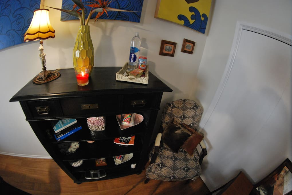 Bookshelf: Travel & Dinning Guide Books / Spring Water Bottles & Sodas / Soft Tissues / Art Books / Scented Candles / Weight Scale