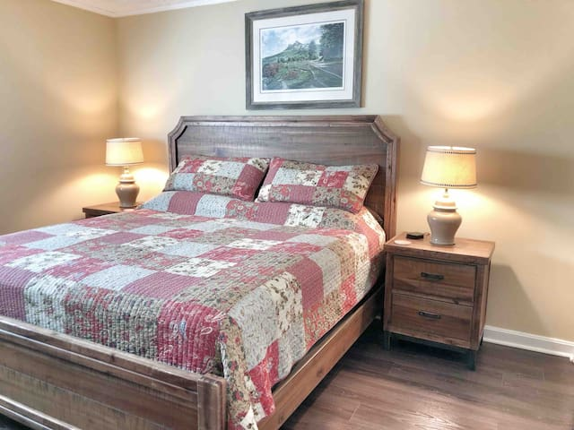 King bed located in master bedroom.