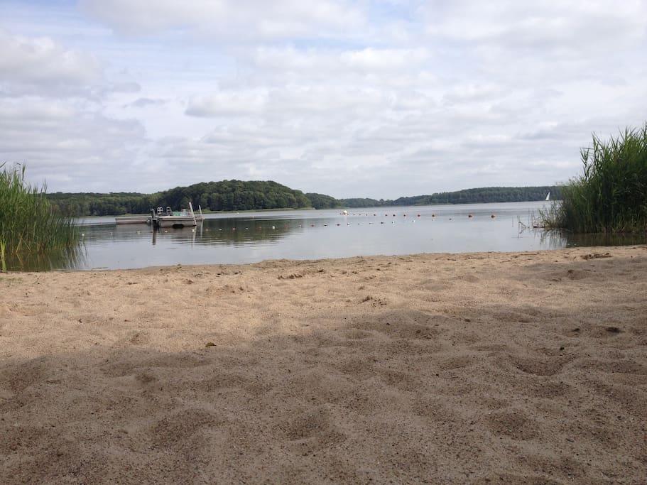 Sommer - Sonne - Wärme. Die Badestelle am Westensee in Felde ist im Sommer sogar von der DLRG bewacht. Sie ist in nur 20 Minuten zu Fuß über den Wanderweg über Wiesen und durch den Wald erreichbar. Selbst jetzt im Juli sind noch kaum Algen im Wasser - Alternativ ist sonst die Ostsee in 20 Minuten mit dem Auto erreichbar.