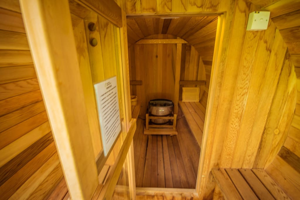Interior of barrel sauna, which can fit up to 4 pax.