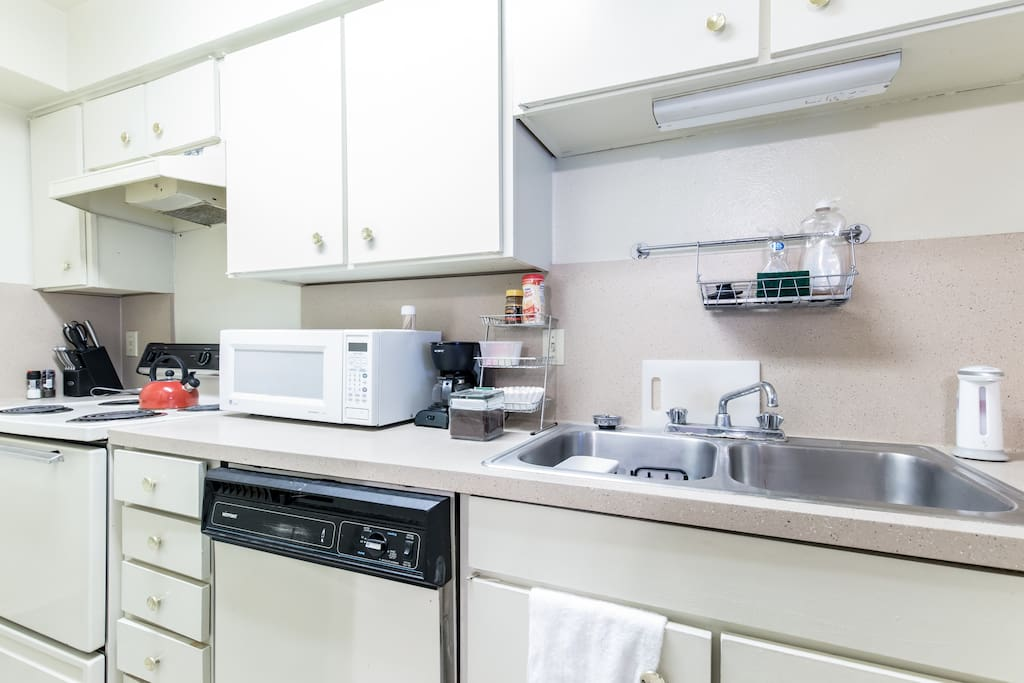 Prepare your meal stocked kitchen or enjoy the coffee/tea bar.